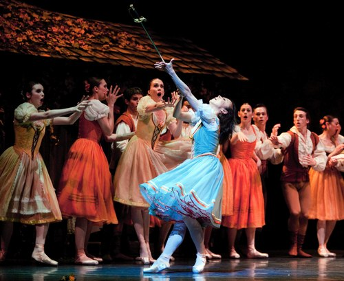 Pacific Northwest Ballet principal dancer Kaori Nakamura as Giselle, with company dancers in PNB's world premiere staging of Giselle.