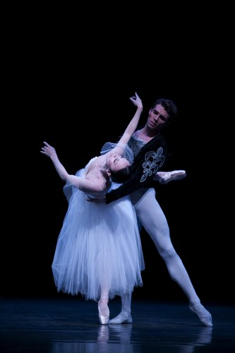 Pacific Northwest Ballet principal dancers Kaori Nakamura as Giselle, and Lucien Postlewaite as Albrecht, in PNB's world premiere staging of Giselle.