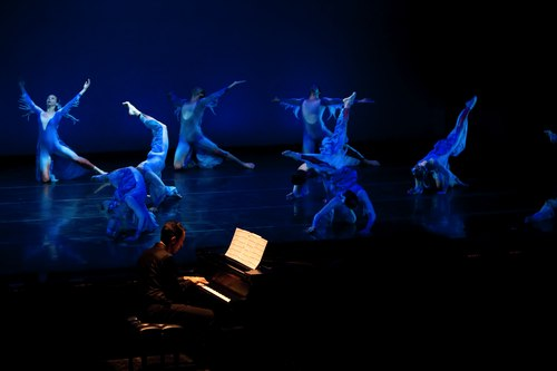 Dance Kaleidoscope company with pianist Spencer Myer in the Water section