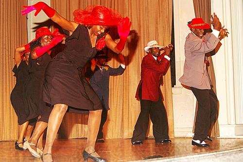 Atiya El-Amin & Ron Parker. (background, left to right) Erica Zuniga, Adunni McPherson, Salvador Corona, Reginald Thornton dance Vernacular Jazz