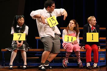 Deborah S. Craig (Marcy Park), Josh Gad (William Barfee), Celia Keenan-Bolger (Olive Ostrovsky) and Sarah Saltzberg (Logainne Schwartzandgrubenierre)