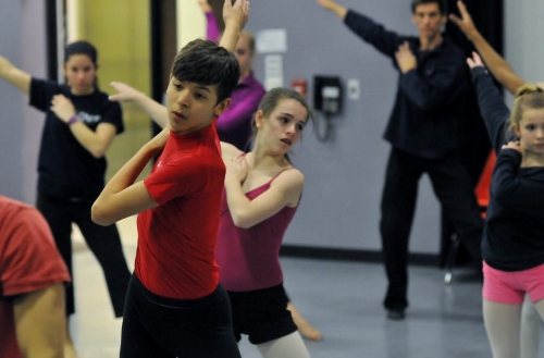 Student Ensemble works with choreographer David Shimotakahara. Photo courtesy of GroundWorks DanceTheater.