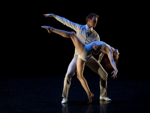 Grand Rapids Ballet dancers Laura McQueen Schultz and Nicholas Schultz in Mario Radacovsky's 'Meet the Swan'.