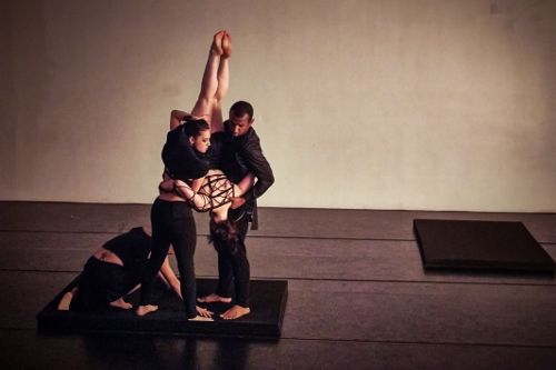 Bryn Cohn & Artists dancers (From L to R) Adam Wile, Rachel Abrahams, Yuliya Romanskaya and Nik Owens in Bryn Cohn's 'Into the Dark'