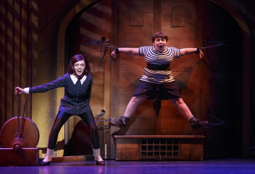 Jennifer Fogarty as Wednesday Addams and Jeremy Todd Shinder as Pugsley Addams in the 2013-2014 National Tour of The Addams Family.