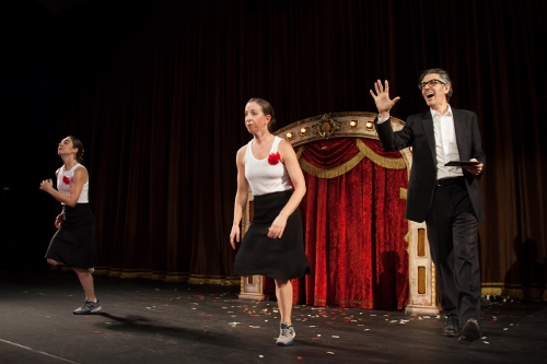 Anna Bass, center, with Monica Bill Barnes, left, and Ira Glass in 'Three Acts, Two Dancers, One Radio Host.'