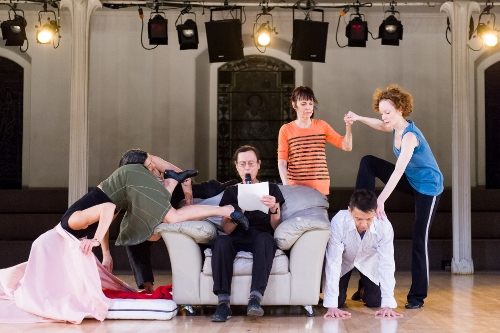 'Assisted Living: Do you have any money?', Yvonne Rainer, 2013. Performers, left to right: Patricia Hoffbauer, Emmanuèlle Phuon, Yvonne Rainer, Pat Catterson, Keith Sabado, and Emily Coates.