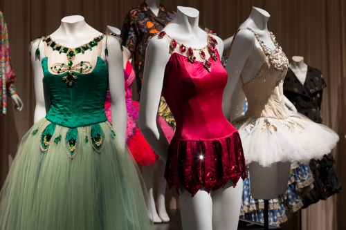 Installation view of Dance & Fashion, featuring costumes by Barbara Karinska for New York City Ballet's Jewels. Photograph © The Museum at FIT, New York.