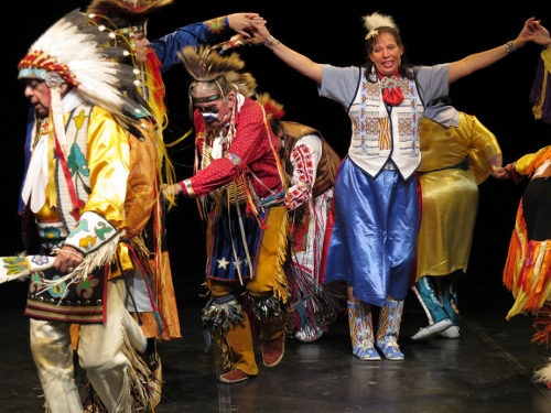 Thunderbird American Indian Dancers' 40th annual Dance Concert and Pow-Wow, Theater for the New City, 2015. Stomp Dance.