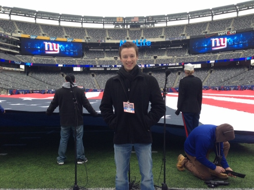 Cory getting ready to sing the anthem for a Giants/49ers game. Photo courtesy of Terry Lingner.