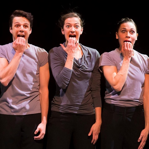 Jane Rehm, center, with Kevin J. Shannon and Jacqueline Burnett in Hubbard Street and The Second City's 'The Art of Falling.'