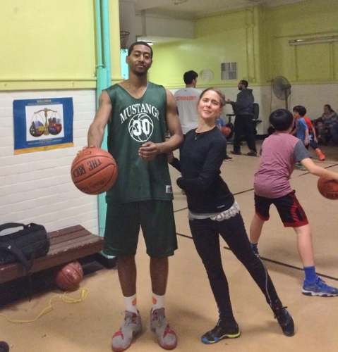 Dance Artist Emily Faulkner and Steady Buckets Basketball Player. Photo courtesy of Emily Faulkner Dance.