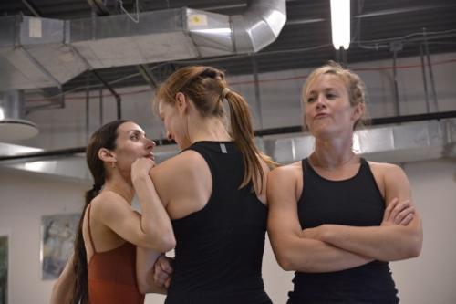 Felise Bagley, Annika Sheaff and Lauren Garson in a rehearsal of David Shimotakahara's 'Boom Boom.' Photo courtesy of GroundWorks DanceTheater.
