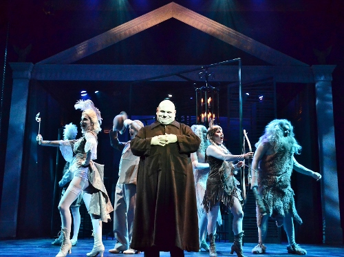 Uncle Fester (Shaun Rice), center, gathers the Addams Family ancestors for their help in having love prevail for Wednesday Addams in Beef & Boards Dinner Theatre's production of the musical comedy The Addams Family, now on stage through Nov. 22.