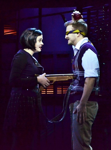"Wednesday Addams (Samantha Russell) and her boyfriend Lucas Beineke (Blake Spellacy) challenge each is ""Crazier Than You"" in Beef & Boards Dinner Theatre's production of the musical comedy The Addams Family, now on stage through Nov. 22."