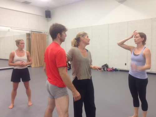 Choreographer Kate Weare (center) in rehearsal with GroundWorks DanceTheater dancers on 'Far and Near.'