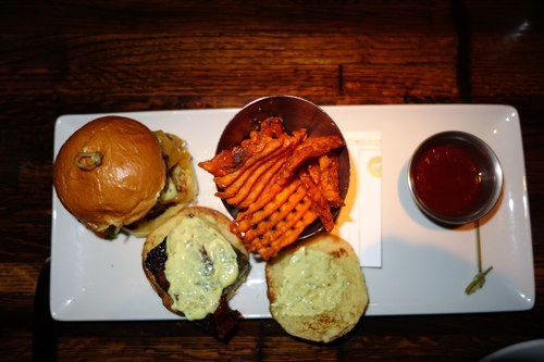 Sliders with Waffle Fries at Linger