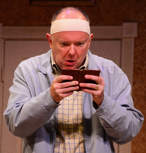 John Smith (Eddie Curry) frantically checks his schedule in Beef & Boards Dinner Theatre's production of Run for Your Wife. Married to two women, John has been able to keep his two wives and two homes in balance thanks to his precise schedule. But it all begins to unravel when that schedule gets disrupted one day, and John goes to great lengths to maintain wedded bliss with both of his wives – with hilarious results!