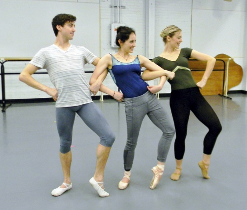 Rochester City Ballet dancers Chris Collins, Jessica Tretter and Megan Kamler rehearsing Jimmy Orrante's 'The Ugly Duckling.'