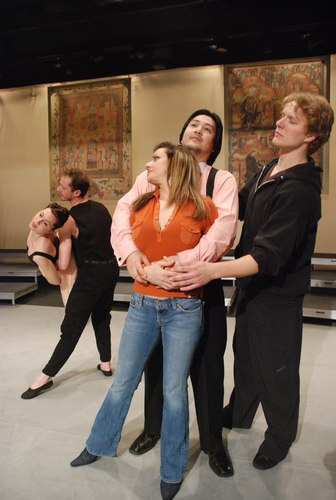 A rehearsal with Nilas Martins, soprano Hilda Ramos and tenor Arthur Shen singing the roles of Anna and Roberto in Le Villi, with Ashley Tuttle and Benjamin Bowman dancing the roles.