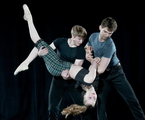 """Grand Rapids Ballet's Steven Houser, Cassidy Isaacson and Mark Dave Naquin in Brian Enos' """"Nae Regrets."""""""