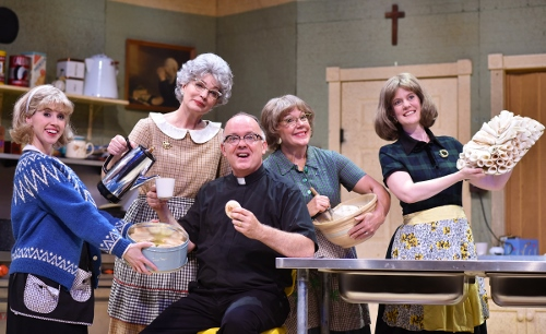 "Pastor E.L. Gunderson (Eddie Curry), center, sings with the Lutheran ladies (from left), Signe (Lindsay Sutton), Vivian (Licia Watson), Mavis (Karen Pappas) and Karin (Dawn Trautman) that they're ""Closer to Heaven"" in the church basement in the musical comedy 'Church Basement Ladies.' Equal parts silly and sweet, Church Basement Ladies is on stage at Beef & Boards Dinner Theatre through Aug. 21."