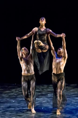 "Oakland Ballet's Brent Whitney, Evelyn Turner and Vincent Chavez in Janice Garrett and Charles Moulton's ""Divining."""