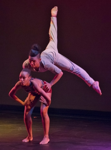 Gaspard & Dancers' Taquirah Thompson and A.J. Guevara rehearse Gaspard Louis's 2016 'Portrait.'