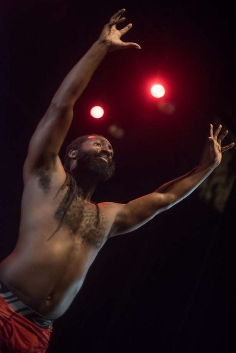 "Antoine Hunter of Urban Jazz Dance Company in an excerpt from ""The Body of a Black Man."""