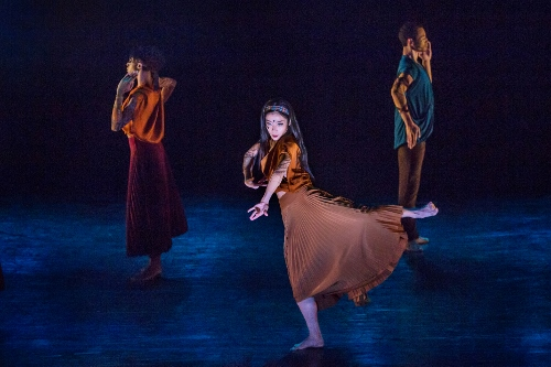 """Xin Ying (center), Leslia Andrea Williams, and Abdiel Jacobsen in Sidi Larbi Cherkaoui's """"Mosaic."""""""