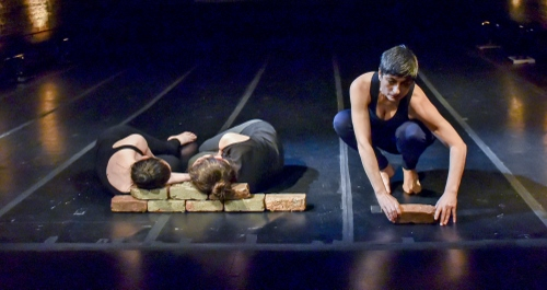 'Terra dei Fuochi / Land of Fires', presented by La MaMa, choreographed and directed and by Bianca Falco (Napoli, Campania - NYC) and composed by Alberto Falco (Napoli, Campania). L-R: Laura Orfanelli, Bianca Delli Priscoli, Bianca Falco.