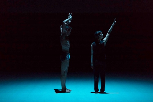 Isaiah Bindel (left) and Hope Mohr perform '15,' choreographed by Gregory Dawson as part of Hope Mohr Dance's 2016 Bridge Project, 'Ten Artists Respond to Locus.'