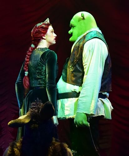 As they try to one up each other in their stories of tragic childhoods, Fiona (Emily Grace Tucker) pauses as she finds she has a lot in common with the ogre Shrek (Peter Scharbrough) who rescued her in Beef & Boards Dinner Theatre's premiere production of 'Shrek, The Musical.'