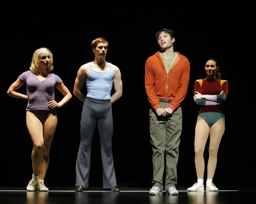 Jessica Lee Goldyn, Paul McGill, Jason Tam and Natalie Cortez in A Chorus Line