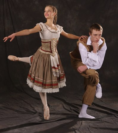 Brad Robison as Hansel and Hannah Wright as Gretel in the Creer-King ballet <i>Hansel and Gretel</i> with costumes by Tutus Divine