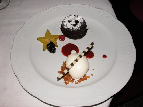 Artistically prepared Chocolate Dessert