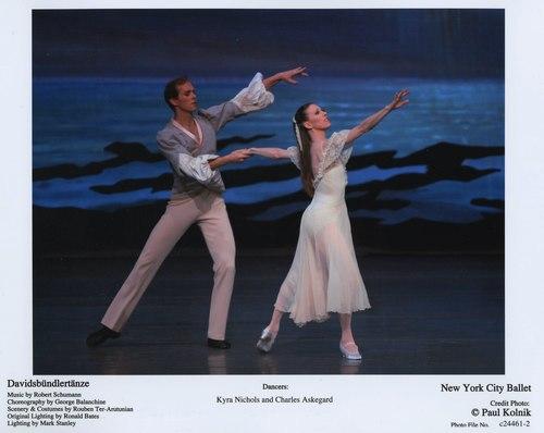 Kyra Nichols and Charles Askegard in 'Davidsbündlertänze' at the New York City Ballet. June 22, 2007