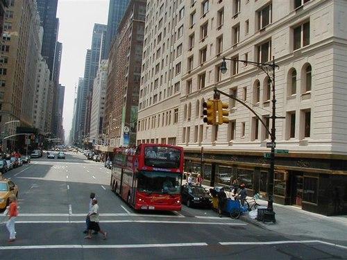 Passing a Gray Line NY Tour Bus