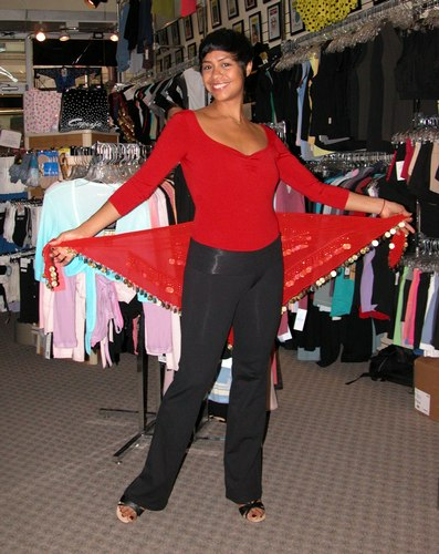 Sleek Red and Black Outfit with a Belly Dance Accent. Modeled by Talia Castro-Pozo. Available at <a href='http://www.onstagedancewear.com'>OnStageDancewear.com</a>.