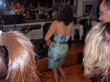 Marizete teaching an introductory Samba Class as part of her Carnival Party at Lafayette Bar and Grill.