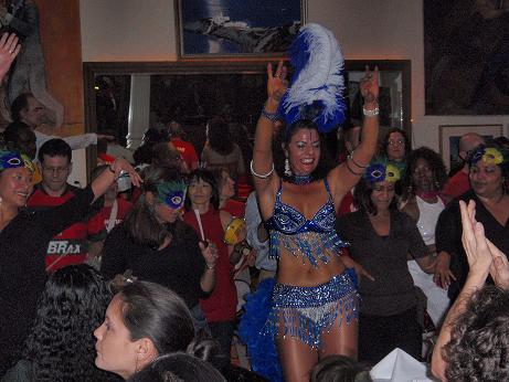 Marizete performing a Carnival Samba with the Manhattan Samba band.