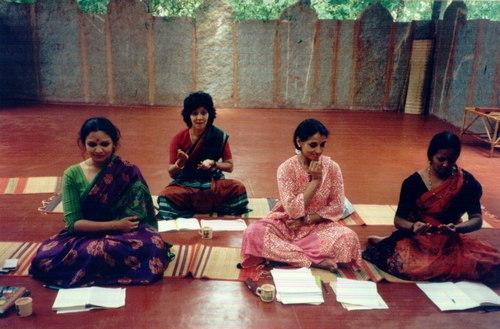 Workshop in abhinaya - 'mime' - taught by Kalanidhi Narayanan at Nrityagram, with dancers like Pratibha Prahlad and Rajika Puri in the class.