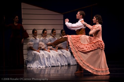 Martha Graham's Appalachian Spring Bride (peach colored dress) – Anila Mazhari-Landry Husband – Spencer Theberge Followers (4 women) – Marla Phelan, Kelly Robotham, Yara Travieso and Allison Ulrich