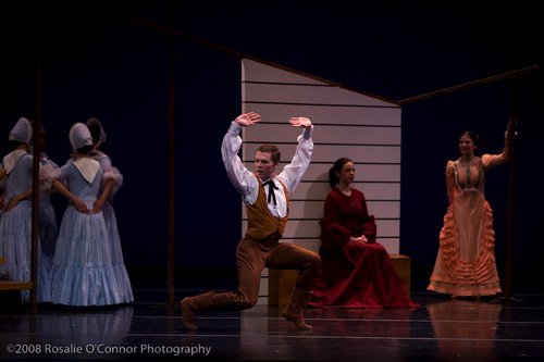 Martha Graham's Appalachian Spring Bride (peach colored dress) – Anila Mazhari-Landry Husband – Spencer Theberge Pioneering Woman (red dress) – Carolyn Rossett Followers (4 women) – Marla Phelan, Kelly Robotham, Yara Travieso and Allison Ulrich