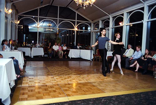 Simone Assboeck and Ernesto Alonso Palma of Stepping Out Studios perform a Cha-cha