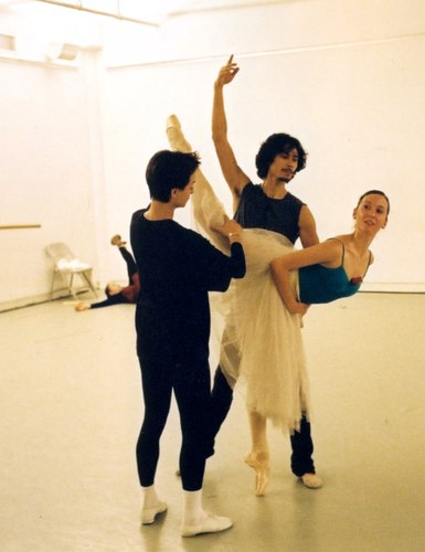 Here's Cesar Morales of Chile and partner Ludmila Pagliero of Argentina being coached in Bournonville's 'Kermesse in Bruges' pas de deux by Eva Kloborg of the Royal Danish Ballet.  Morales won a Gold Medal, and Pagliero received a Silver and the Igor Youskevitch Award (a one-year contract with ABT) in 2003. Ludmilla is now with the Paris Opera Ballet