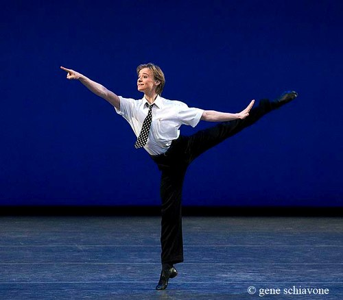 Daniil Simkin, in playful 1st arabesque, is soon to be a soloist at American Ballet Theatre this year.