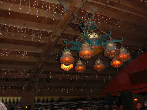 Salsa at the Monsoon Cafe The chandelier