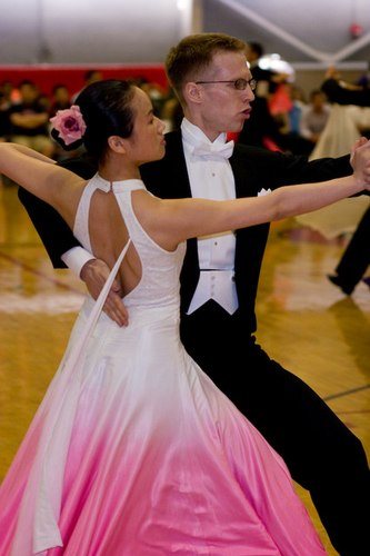 Ben Moss (The MIT team captain) and Jing Wang dancing international Tango at the pre-championship level during the April 2008 MIT Open Competition. (Note: Photos of the MIT Open Competition were shot by both Cara Baudette and Moses Goddard. It is unknown which of these two photographers shot this particular photo.)