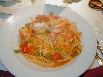 Homemade Fettucine in Tomato Wine Sauce with Shrimps and Lobster